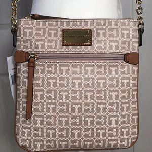 TOMMY HILFIGER NWT Crossbody, Tan and White